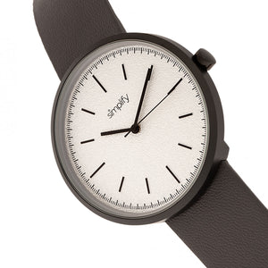 Simplify The 3000 Leather-Band Watch - Charcoal - SIM3008