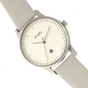 Simplify The 4300 Leather-Band Watch w/Date - Silver/White - SIM4303