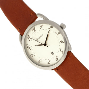 Simplify The 4900 Leather-Band Watch w/Date - Silver/Camel - SIM4901