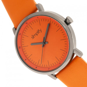 Simplify The 6200 Leather-Strap Watch - Orange - SIM6206