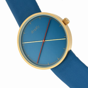 Simplify The 4100 Leather-Band Watch - Gold/Blue - SIM4107