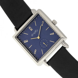 Simplify The 5000 Leather-Band Watch - Black/Blue - SIM5002