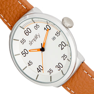 Simplify The 7100 Leather-Band Watch w/Date - Brown/Silver - SIM7102