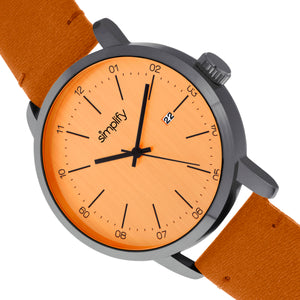 Simplify The 2500 Leather-Band Men's Watch w/ Date - Orange - SIM2506
