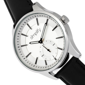 Simplify The 6600 Series Leather-Band Watch - Black/Silver - SIM6601