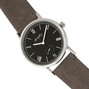Simplify The 5100 Leather-Band Watch - Charcoal/Black - SIM5104