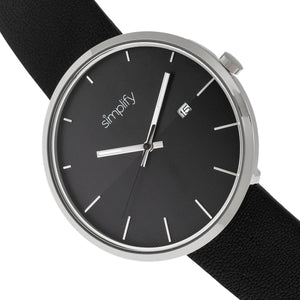 Simplify The 6400 Leather-Band Watch w/Date - Silver/Black - SIM6403