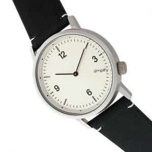 Simplify The 5500 Leather-Band Watch - Silver/Blue - SIM5501