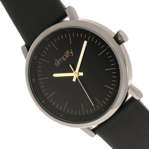 Simplify The 6200 Leather-Strap Watch - Black/Gunmetal - SIM6204