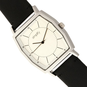 Simplify The 5400 Leather-Band Watch - Silver/Black  - SIM5401