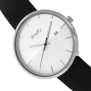 Simplify The 6400 Leather-Band Watch w/Date - Silver - SIM6401