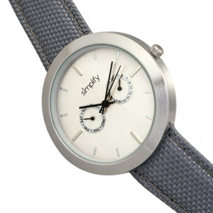 Simplify The 6100 Canvas-Overlaid Strap Watch w/ Day/Date - White/Grey - SIM6103
