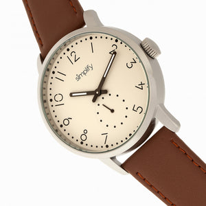 Simplify The 3400 Leather-Band Watch - Silver/Brown - SIM3403