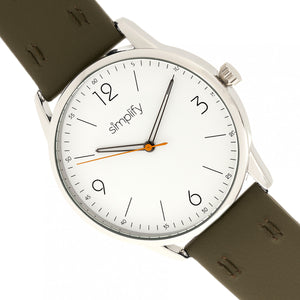 Simplify The 6300 Leather-Band Watch - Olive/White - SIM6302