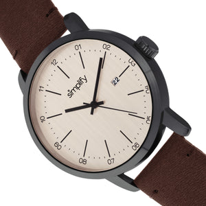 Simplify The 2500 Leather-Band Men's Watch w/ Date - Brown - SIM2504