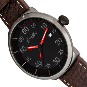 Simplify The 7100 Leather-Band Watch w/Date - Dark Brown/Red - SIM7106
