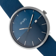 Load image into Gallery viewer, Simplify The 6400 Leather-Band Watch w/Date - Gunmetal/Blue - SIM6406