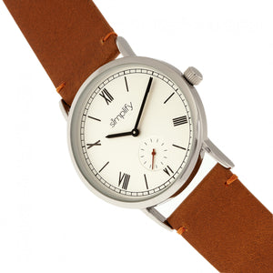 Simplify The 5100 Leather-Band Watch - Camel/White - SIM5105