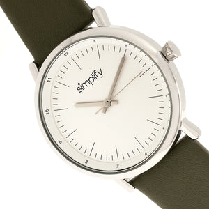 Simplify The 6200 Leather-Strap Watch - White/Olive - SIM6201