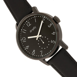 Simplify The 3400 Leather-Band Watch - Black - SIM3406