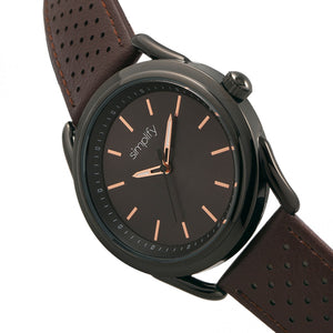 Simplify The 5900 Leather-Band Watch - Black/Brown - SIM5905