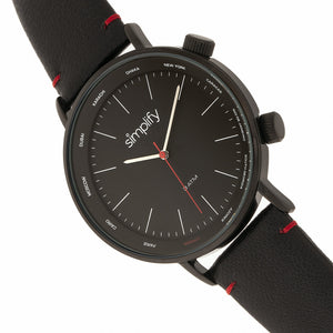 Simplify The 3300 Leather-Band Watch - Black - SIM3306