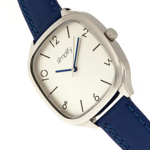 Simplify The 3500 Leather-Band Watch - Silver/Blue - SIM3503
