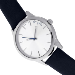 Simplify The 2400 Leather-Band Unisex Watch - Silver/Navy - SIM2406