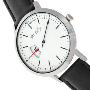 Simplify The 6500 Leather-Band Watch - Black/White - SIM6501