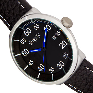 Simplify The 7100 Leather-Band Watch w/Date - Black - SIM7103