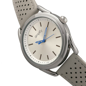 Simplify The 5900 Leather-Band Watch - Silver/Grey - SIM5902