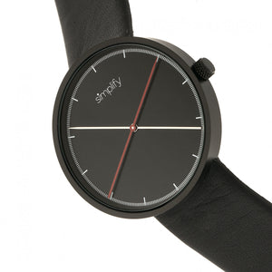 Simplify The 4100 Leather-Band Watch - Black - SIM4101