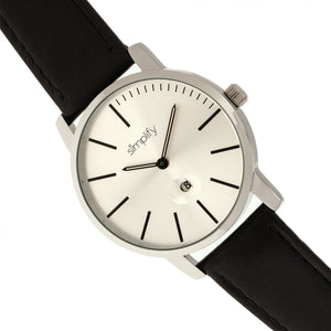 Simplify The 4700 Leather-Band Watch w/Date - Silver/Black - SIM4701