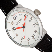 Load image into Gallery viewer, Simplify The 7100 Leather-Band Watch w/Date - Black/Silver - SIM7101