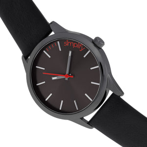 Simplify The 2400 Leather-Band Unisex Watch - Black - SIM2404