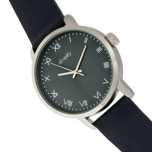 Simplify The 4200 Leather-Band Watch - Navy - SIM4204