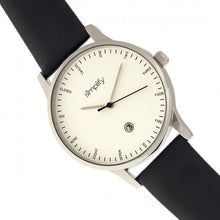Load image into Gallery viewer, Simplify The 4300 Leather-Band Watch w/Date - Silver/Black - SIM4301