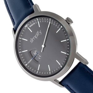Simplify The 6500 Leather-Band Watch - Blue/Black  - SIM6507