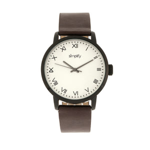 Simplify The 4200 Leather-Band Watch - Plum - SIM4206