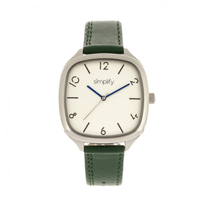 Simplify The 3500 Leather-Band Watch - Silver/Green - SIM3504