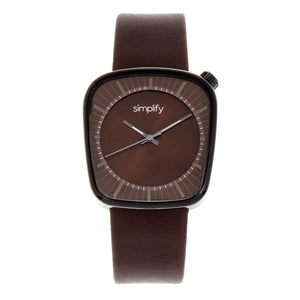 Simplify The 6800 Leather-Band Watch - Black/Brown - SIM6805