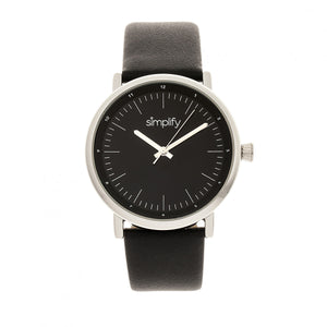 Simplify The 6200 Leather-Strap Watch - Black/Silver - SIM6202