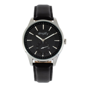 Simplify The 6600 Series Leather-Band Watch - Black - SIM6602