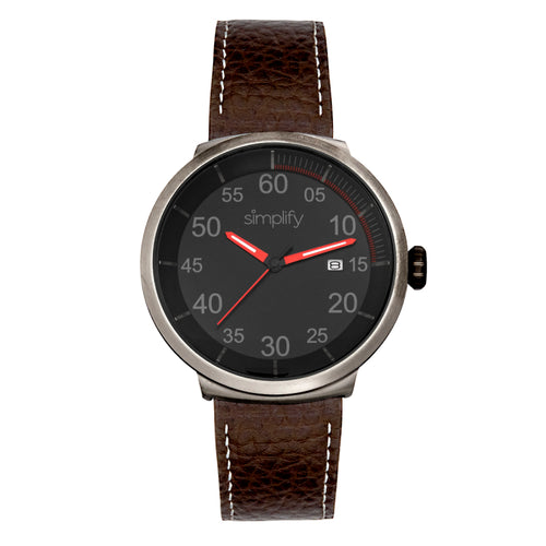Simplify The 7100 Leather-Band Watch w/Date - SIM7106