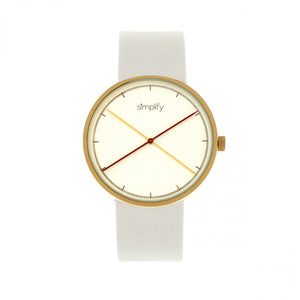 Simplify The 4100 Leather-Band Watch - Gold/White - SIM4104
