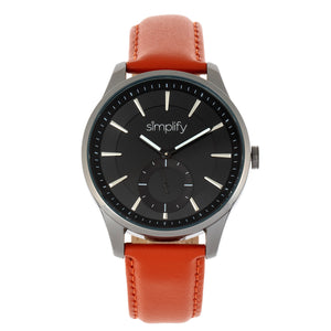 Simplify The 6600 Series Leather-Band Watch - Orange/Black - SIM6605