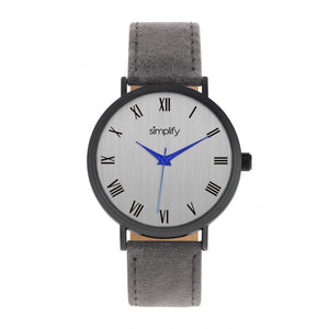 Simplify The 2900 Leather-Band Watch - Black/Charcoal - SIM2906
