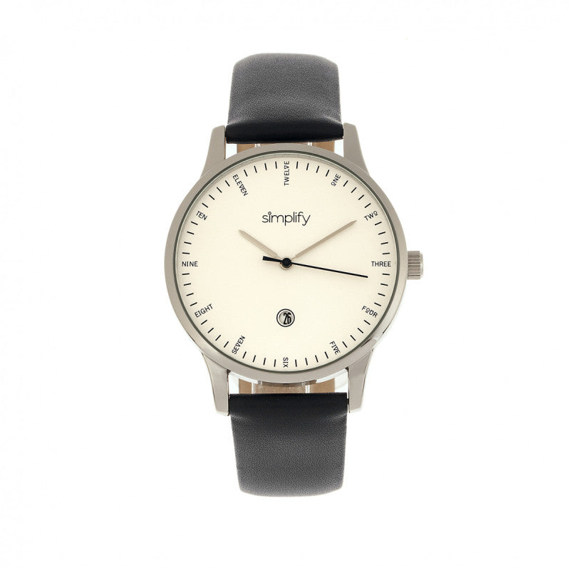 Simplify The 4300 Leather-Band Watch w/Date