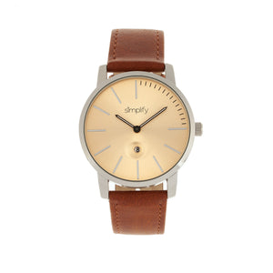 Simplify The 4700 Leather-Band Watch w/Date - Silver/Camel - SIM4704