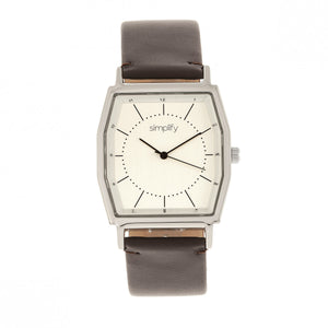 Simplify The 5400 Leather-Band Watch - Silver/Dark Brown  - SIM5402